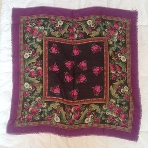 Floral Square Raw Edge Scarf